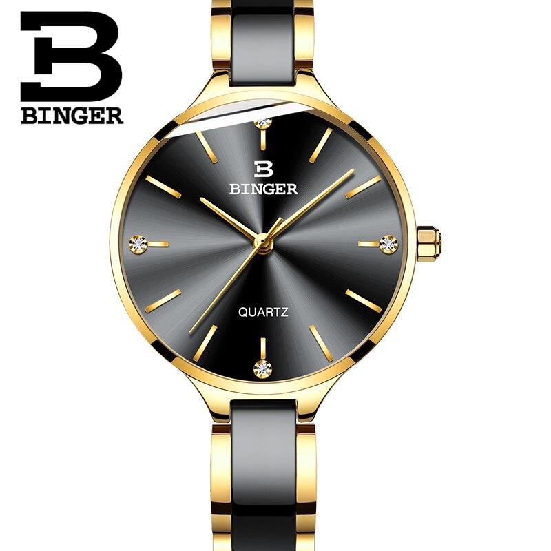 Schweiz BINGER Luxus Frauen Uhr Marke Kristall Mode Armband Uhren Damen Frauen handgelenk Uhren Relogio Feminino B 11852-in Damenuhren aus Uhren bei  Gruppe 3