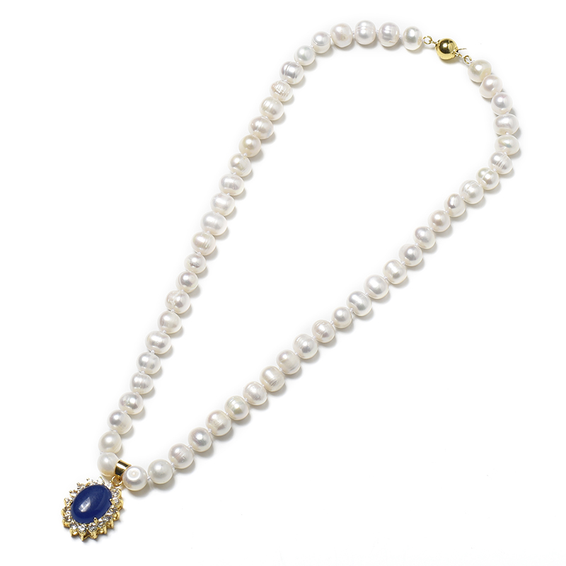 8-9 mm Freshwater Natural Pearl Necklace With delicate elliptical pearls and a sapphire blue elliptical 19*23*10 mm pendant 8-9 mm Freshwater Natural Pearl Necklace With delicate elliptical pearls and a sapphire blue elliptical 19*23*10 mm pendant