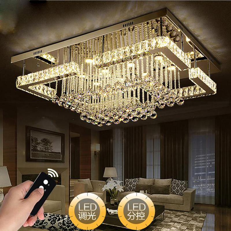 Modern simple rectangular stainless steel crystal living room ceiling lamp luxury bedroom lamp restaurant lights children led luxury lamp led crystal smoke gray living room restaurant bedroom modern low voltage lights circular fashion ceiling lights