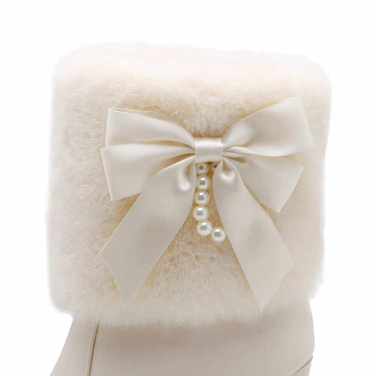 ... PXELENA Sweet Women Wedding Boots Bride Shoes White Beige Black Pink  Butterfly-knot Faux Fur de3477e10c7f