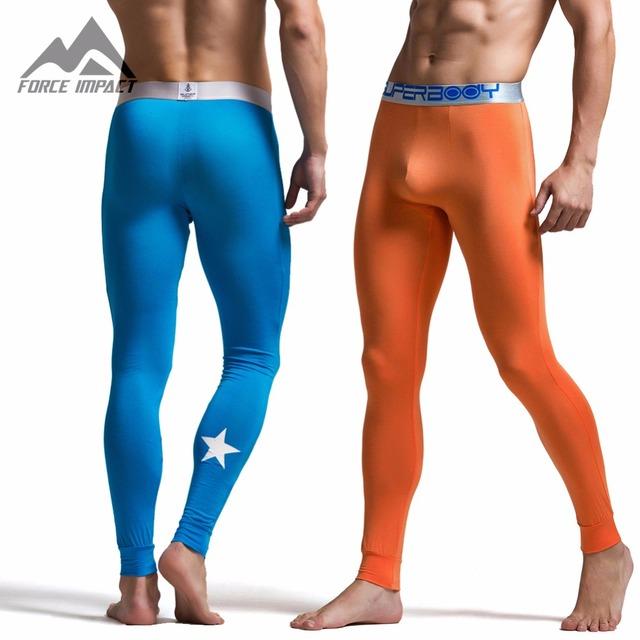 2016 de los Nuevos hombres Modales Cuerpo Long John Pantalones de Alta Calidad Térmica Calzoncillos largos de Impresión Estrella Moda Long John Calzoncillos para Hombres SU1512