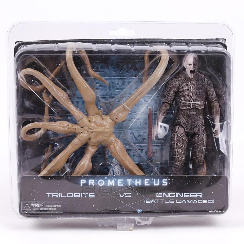 NECA Prometheus TRILOBITE VS. ENGINEER BATTLE DAMAGED PVC Action Figure Collectible Model Toy 21cm