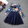 2016 spring children's clothing baby girls dresses floral printed long sleeve girl princess dress for girls kids clothes dresses