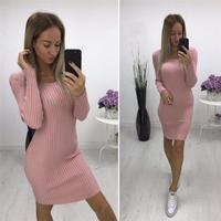 Для женщин трикотажные Платья-свитеры Демисезонный Sexy Тонкий Bodycon Платья для женщин эластичные узкие платье vestidos ws4029v