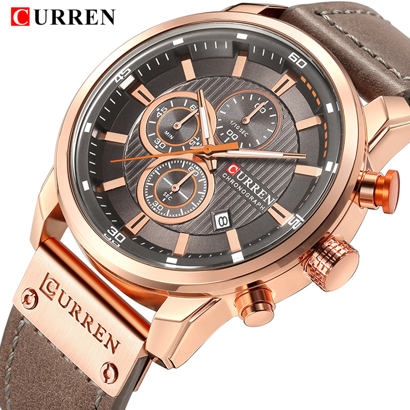 CURREN Mens Watches Top Brand Luxury Analog Quartz Men Watch Leather Strap Casual Fashion Sport Male Clock Relogio Masculino dom men watch top luxury men quartz analog clock leather steel strap watches hours complete calendar relogios masculino m 11