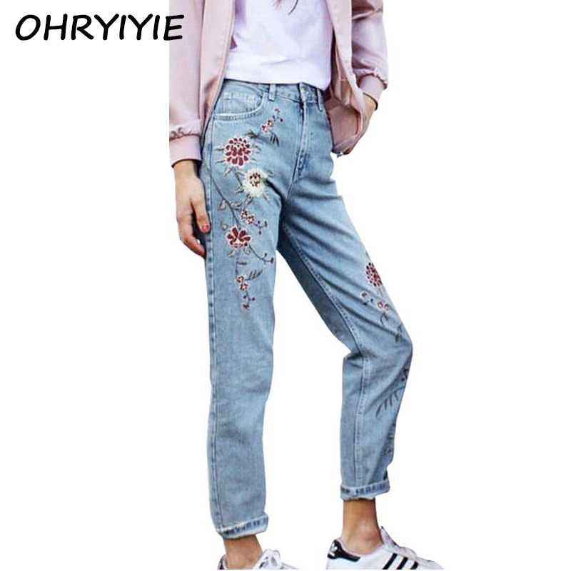 OHRYIYIE Women Flower Embroidery Jeans Female Light blue Casual Pants Capris 2017 New Fashion High Waist Pockets Straight Jeans flower embroidery jeans female blue casual pants capris 2017 spring summer pockets straight jeans women bottom a46