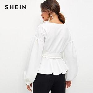 Image 2 - SHEIN 女性エレガントなランタンスリーブ冥衣ペプラムオフショルダーブラウス秋セクシーな女性のトップスやブラウス