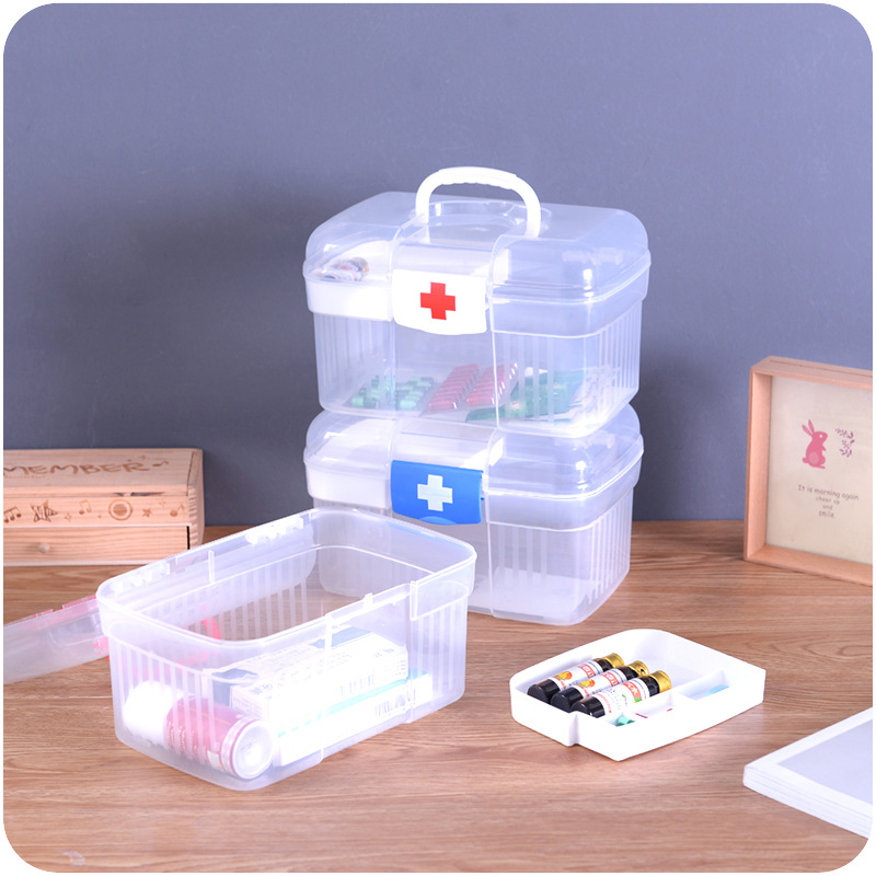 Stay Gold Plastic Household Family First Aid Medicine Box Multi Drug Storage Box Children Medical Box Kit Plastic Storage Box