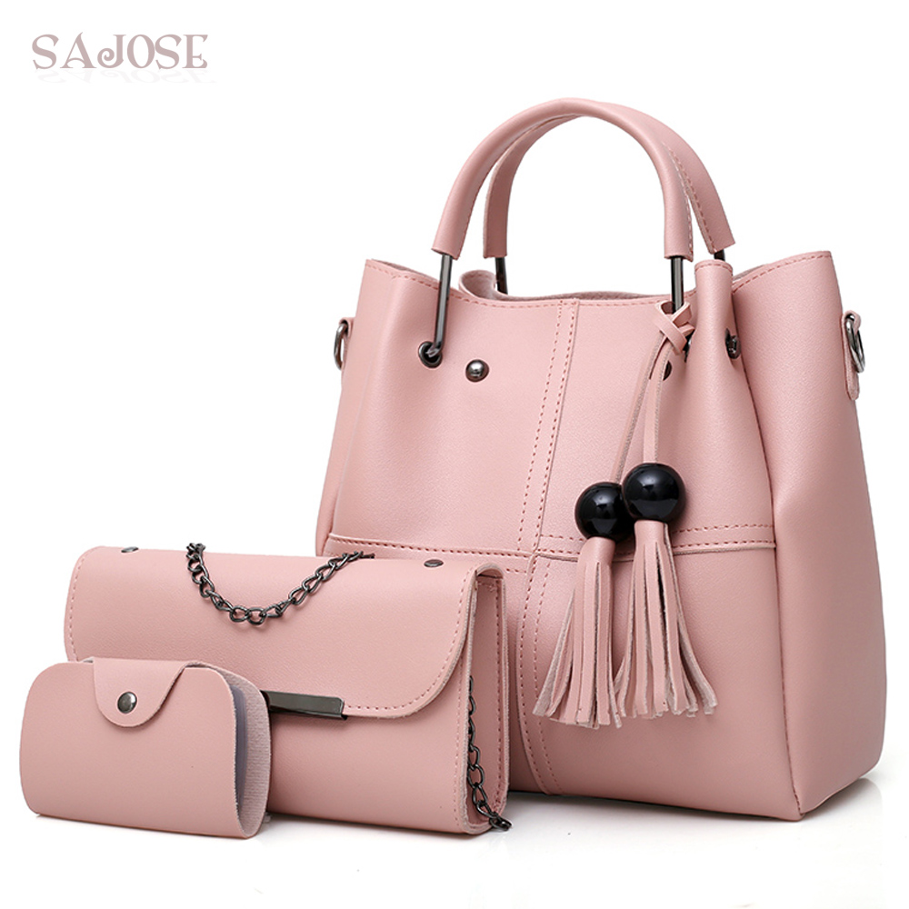 Composite Bag women s High Quality Designer Handbags Female Crossbody Bags For Women Lady Tassel Pink