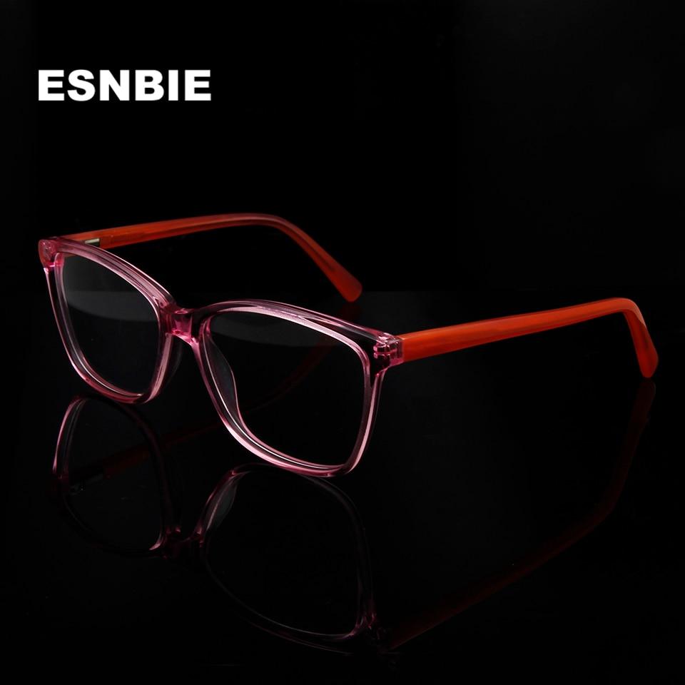 74d2637599 Womens Clear Glasses Transparent Pink Fashionable Spectacle Frames Acetate  Myopia Glasses Frame Women Square Oculos De