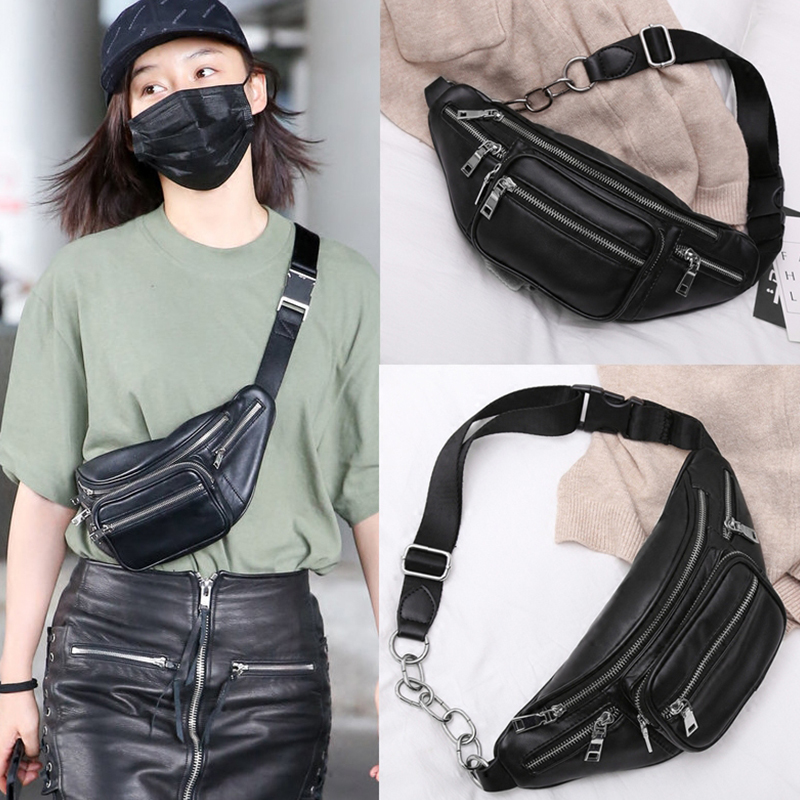 Women Waist Bag Pu Leather Multifuction Fanny Pack Women Walking Shopping Belly Band Chain Chest Shoulder Bag Bananka Belt Bag