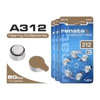 60 шт. A312 1,45 V 312A ZA312 S312 высокое peformence Аккумулятор для слухового аппарата оригинальный цинковоздушная PR41 B3124 батареи