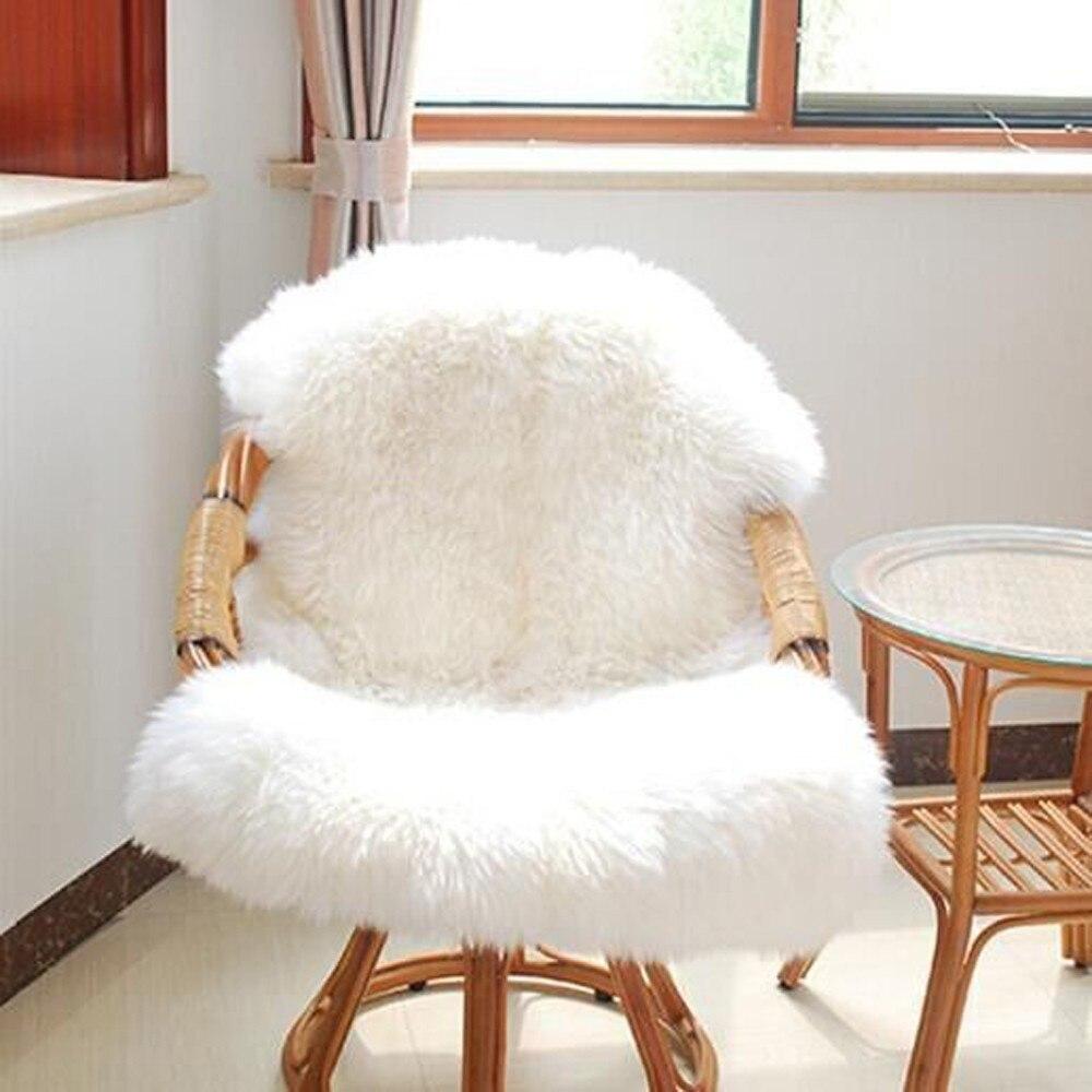Sheepskin Chair Cover Seat Pad Soft Carpet Hairy Plain Skin Fur Plain Fluffy Area Rugs Bedroom Faux carpet Mat Muzzi sizes A30