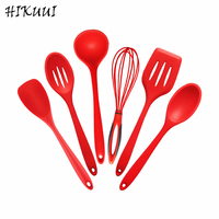 6pcs Kitchen Accessories Sets Food Grade Silicone Cookware Egg Whisk Soup Spoon Red Spatula