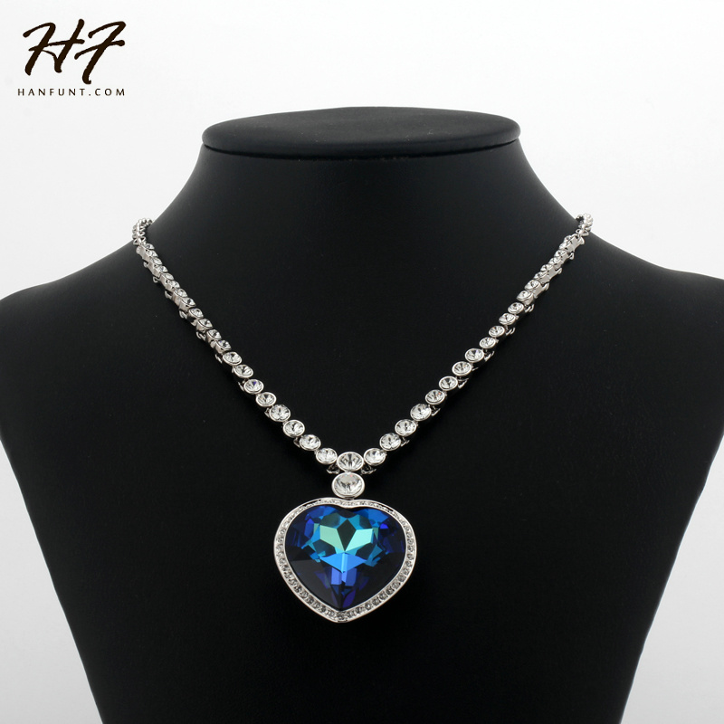 Image 3 - Sliver Color The Heart of Ocean Austrian Blue CZ Crystal Pendant  Necklace For Women HotSale N585 N586heart of oceanheart of the  oceannecklaces for women