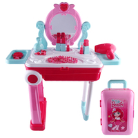Children Beauty Makeup Tool Sets Pretend Play Workbench Playset Educational Toy with Luggage Organizer Pink
