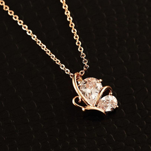 Luxury AAA Butterfly Clavicle Choker Pendant Necklace Zircon Heart Shape Simple Crystal Initial Collares Gift