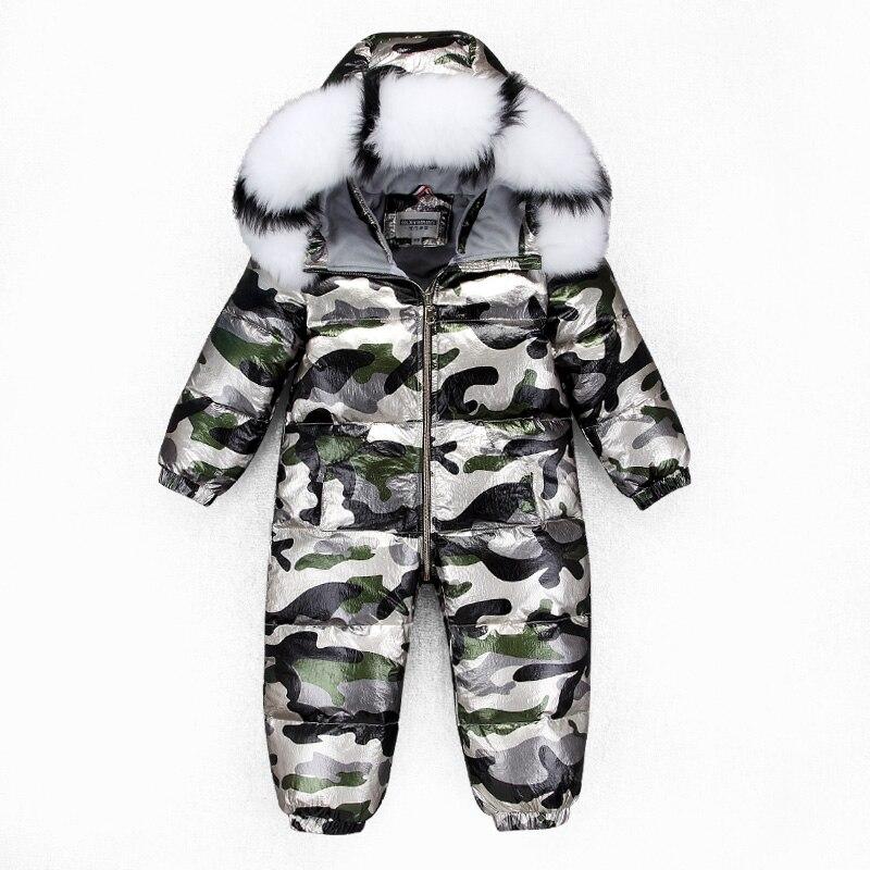 -30 2~5Y Russian Children's Winter overalls for girls Kombenizon Kids Snowsuit Boys Down Rompers Real Raccoon Fox Fur Outdoor