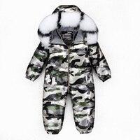 30 2~5Y Russian Children's Winter overalls for girls Kombenizon Kids Snowsuit Boys Down Rompers Real Raccoon Fox Fur Outdoor