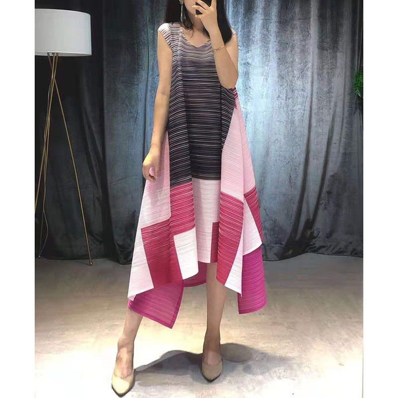 LANMREM 2019 Summer High Quality Pleated Clothes For Women Sleeveless Contrast Color Patchwork Irregular Niche Dresses
