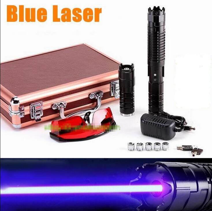 500000m 450nm Powerful Adjustable Focus Blue Laser Pointer Lazer Pen Laser Torch Burn match lit cigarette+2x26650(no include)
