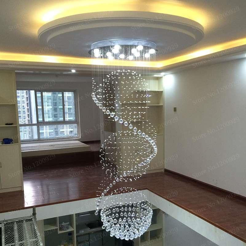 modern clear waterford spiral sphere led crystal chandelier lighting