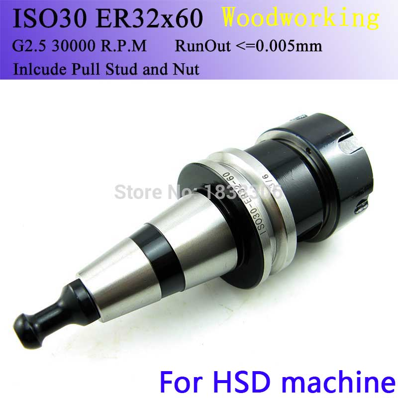milling cuter drill bit Collet Chuck ISO30 ER32-60L CNC Tool Holder G2.5 30000 RPM With Pull Stud Milling Lathe turning Tools 220v to 12v car power car inverter converter transformer car turn home 60w96w120w