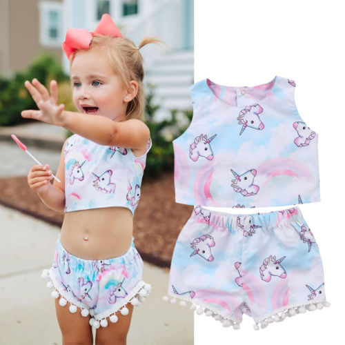 a867c6085 2018 New Arrival Unicorn 2PCS Baby Girls Kids Sleeveless T-Shirt Crop Top  Short Pants Children Summer Casual Outfits Set Clothes