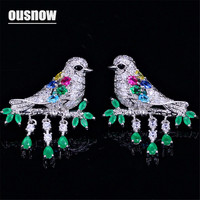 OUSNOW Austrian Crystal earrings 925 sterling silver pin colored Multicolor bird design earrings for ladies to party