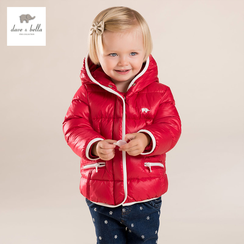 DB3888 dave bella  baby girls white duck down coat  kids down padded hooded coat db4088 dave bella baby girls padded clothing hooded padded coat outerwear kids down jacket