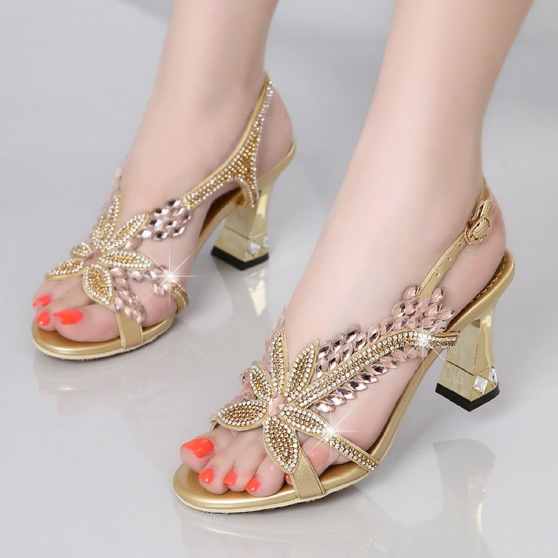 Fashion Brand Women Comfortable High Heels Sandals Elegant Butterfly Rhinestone Ladies Gladiator Summer Party Shoes XMX-B0016