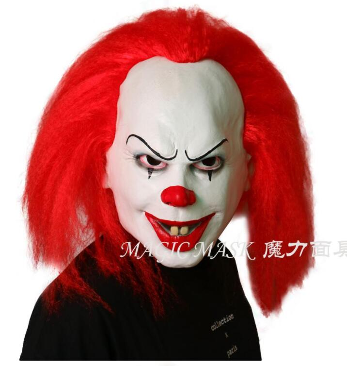 Red Hair Scary Latex 1990 Stephen King's It Clown Pennywise Costume Party Mask Dress Funny Cosplay Joker Clown Masks Props Gift