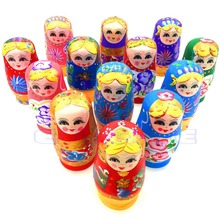 New 5Pcs Wooden Russian Nesting Dolls Babushka Matryoshka Set Hand Painted Gift 5pcs cute wooden dolls animal paint nesting babushka russian dolls children early education birthday matryoshka gift