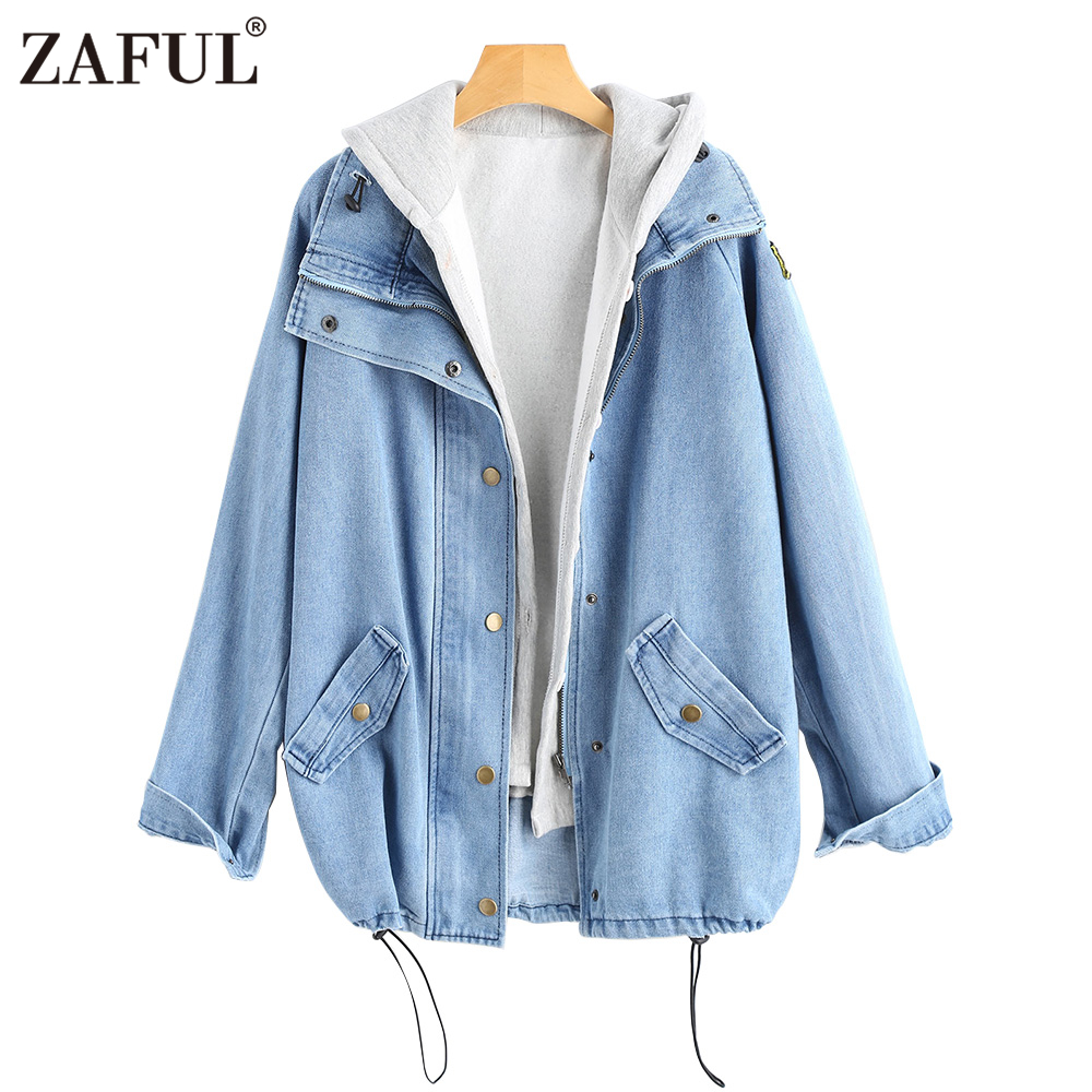 zaful blue button up denim hooded jacket two peices jean
