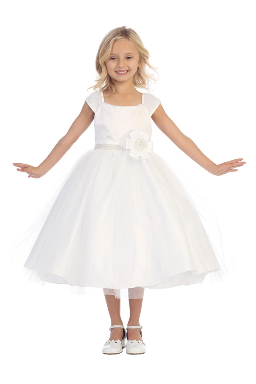 цена на 2017 A-Line First Communion Dresses for Girls Mid-Calf Flower Girls Dresses For Wedding Gowns Sleeveless Mother Daughter Dresses