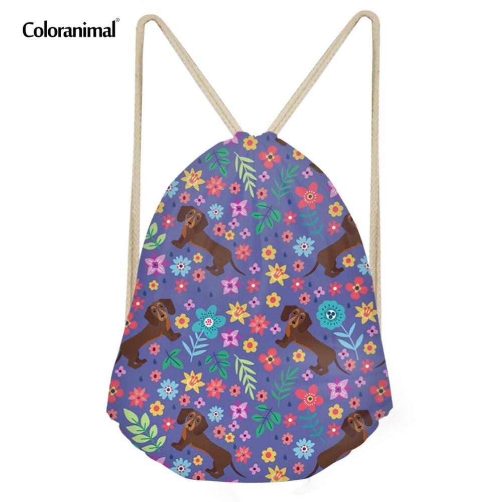 Coloranimal Men Gym Sack Brand Designer Drawstring Bag Groovy Dachshund /Labrador/Pug Dog Sweet Print Travel Backpack Bagpack