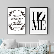 купить Poster Nordic Black Letter HOME LOVE Painting Room Decoration Posters And Prints Wall Art Canvas Prints Wall Pictures Unframed по цене 250.1 рублей