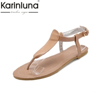 KARINLUNA Brand New Buckle Strap Solid Flat With Best Quality Shoes Woman Casual Summer Sandals Plus