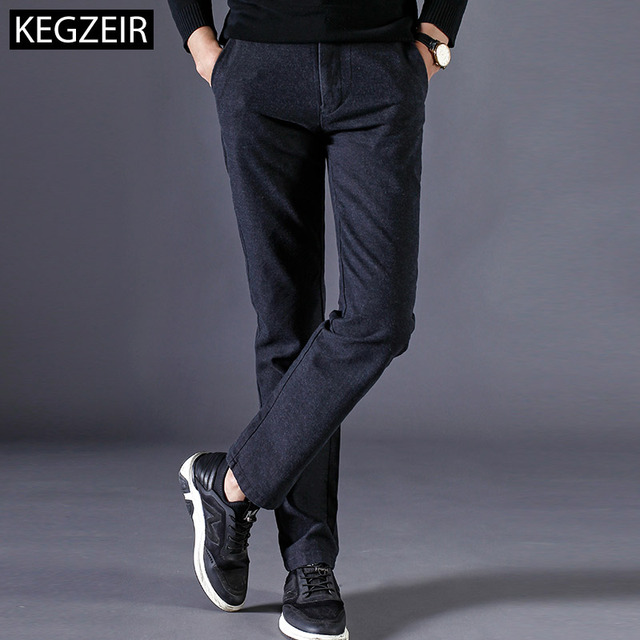KEGZEIR 2018 Spring Winter Pants Men Fashion Stretch Men Trousers Casual Straight Slim Fit Pants For Men Pantalon Cargo Homme