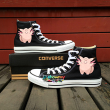 Women Men Shoes Converse All Star Pokemon Go Clefable Design Hand Painted Shoes High Top Sneakers Boys Girls Gifts 6