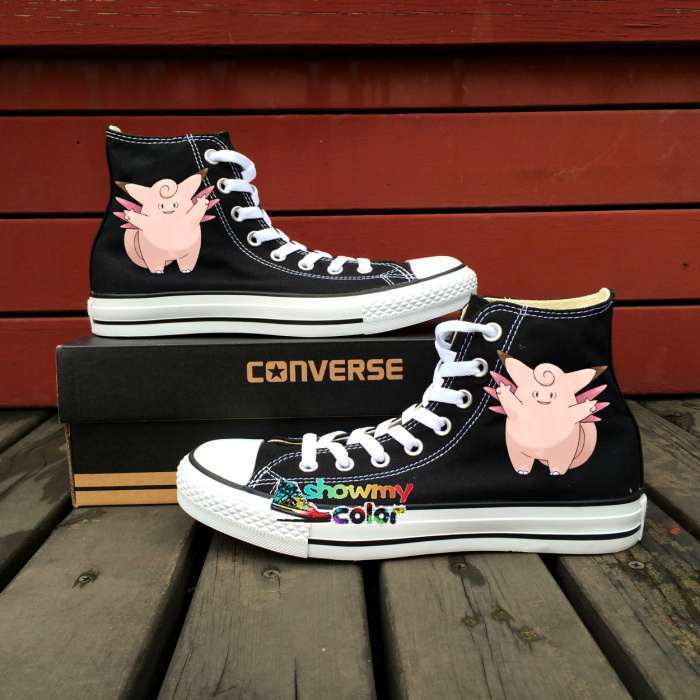 Women Men Shoes Converse All Star Pokemon Go Clefable Design Hand Painted Shoes High Top Sneakers Boys Girls Gifts 6 u каталог all go
