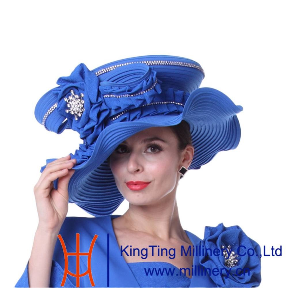 Kueeni Women Church Hats New Designed Royal Blue Ladies Elegant High Noble  Diamond Casing Large Size Wide Brim Party Dress Hats-in Fedoras from  Apparel ... 4f171db38fd