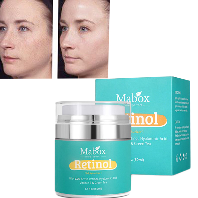 Mabox Retinol 2.5% Day Cream Spot Remove Deep Moisturizing Remove Wrinkle Acne Treatment Whitening Repair Face Cream yanko whitening day cream remove spot freckle 15g pcs fifth generation whitening cream for face