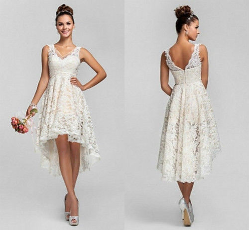 Short Lace backless V Neck vestido de noiva robe de mariee 2018 Backless Lace Bridal Gown Off The Shoulder   bridesmaid     dresses