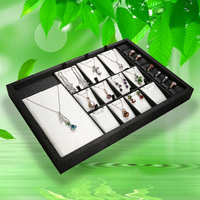 Black PU Leather Multifunctional Jewelry Display Tray for Ring Pendant Necklace Organizer Jewelry Box Shop Showcase GD2021