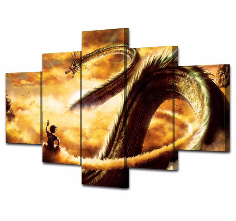 5 PCS Cartoon Eastern Dragon Canvas Painting Wall Pictures For ...