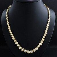 AEAW Bezel Full Moissanite Necklace in 14K white gold 39cm stones size 3.5mm to 6.5mm