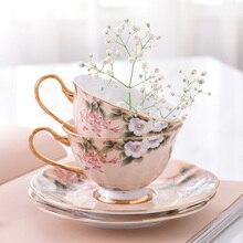 Европейский послеобеденный чай кофейная чашка костяного фарфора чашки и блюдца простая британская керамическая чашка черный чай кофейная чашка красивые цветы