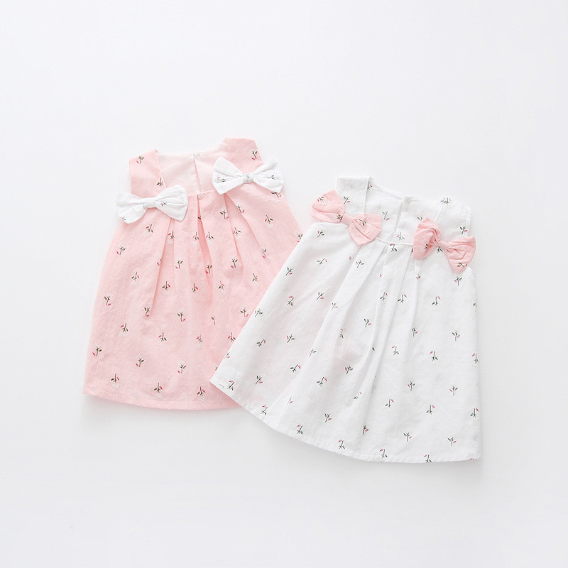 aa17438a2d576 BNWIGE 1-4T Casual Summer Baby Girl Dress Cotton Print Floral Bow ...