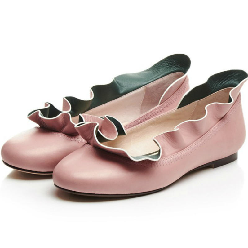 Sweet Ruffles fashion women spring summer Real cow leather flat heel shoes ladies pink green round toe flowers shallow flats spring summer women leather flat shoes 2017 sweet bowtie flats women shoes pointed toe slip on ladies shoes low heel shoes pink